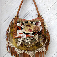 French Tapestry Bag with Leather Fringe and Antique by stacyleigh
