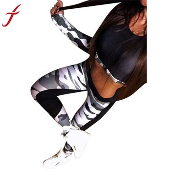 Fitness Wear Tank tops Women Tracksuit Camouflage Stitching Sets Loose Crop Tops Long Sleeve Vest Singlet for Workout vest