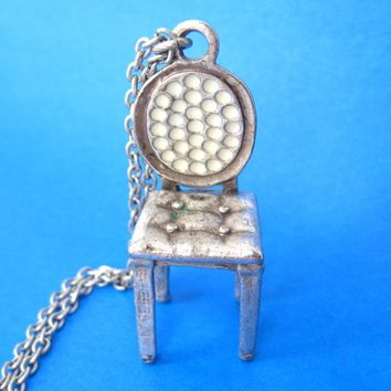 Miniature Antique Chair Shaped Pendant in Silver on SALE | DOTOLY
