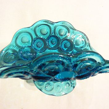Le Smith Blue Glass Pedestal Boat Bowl Stars And Moon
