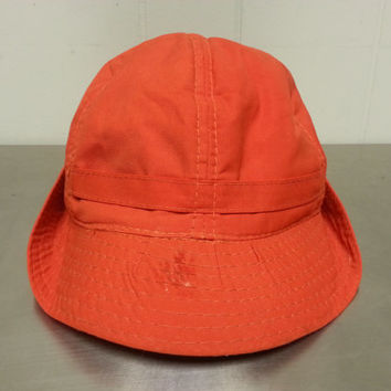 Vintage Hipster Style Harvard Sports Headwear Rain Hat Orange Snowproofed Hunting Fishing Outdoorsman Hat Size 7 1/2 Fall Fashion