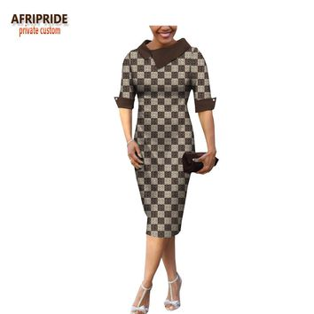 summer& casual women pencil dress african wax print AFRIPRIDE tailor made half sleeve mid-calf length dress A1825055
