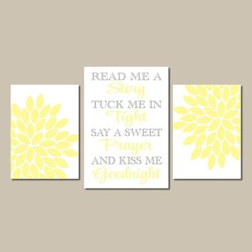 YELLOW GRAY Nursery Wall Art, Read Me A Story, Baby Girl Nursery Decor, Girl  Kiss Me Goodnight Set of 3 Canvas or Prints, Gift for Girl