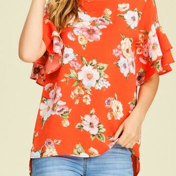 Ava Coral Floral Bell Sleeve Blouse