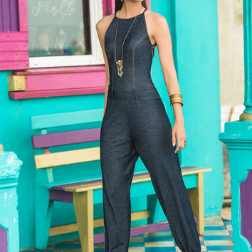 Strappy Back Denim Jumpsuit