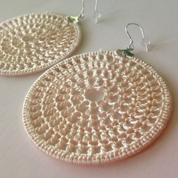 Pearl White Crochet Earrings, Bohemian Hippie Lace Hoops, Delicate Jewelry, Dangle Earrings, Large Circle Earrings, White Thread Hoops