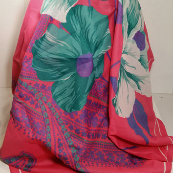 """Flowered Pink Scarf Turquoise Blue Purple Pink Floral Silk -y Scarf 31"""" Square Designer Scarf"""