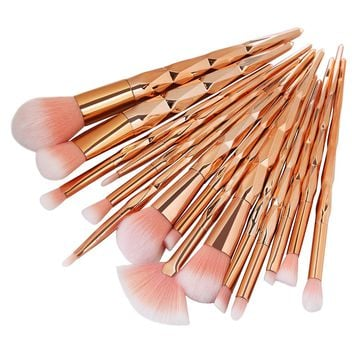 MAANGE Gold 15Pcs Makeup Brushes Set Mermaid Foundation Eyeshadow Contour Eye Lip eyedow Gold Makeup Brushes Set brochas