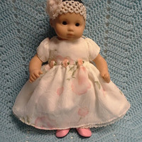 "AMERICAN GIRL Bitty Baby Clothes ""Flower Girl"" (15 inch) doll outfit dress headband N1"