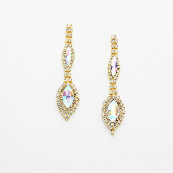 """"""" Alluring"""" Double Drop AB Iridescent Crystal Chandelier Earrings Gold Tone"""