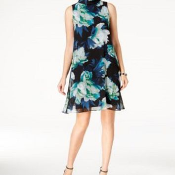 $128 New Vince Camuto Women Floral Printed Green Blue Chiffon Shift Dress Size 8