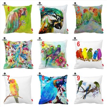 Watercolor Brasil Tropical Funky Parrot Floral Print Car Decorative Throw Pillowcase Pillow Case Cushion Cover Sofa Home Decor