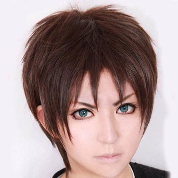 PEAPGB2 Attack on Titan Eren Jaeger Short Dark Brown Cosplay Wig COS-320G