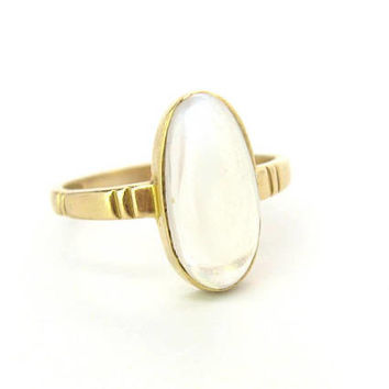 Moonstone Ring 18K Gold Setting Oval Cabochon Gemstone British Art Deco Carved Band Vintage June Birthstone Alternative Engagement Jewelry