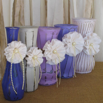 Painted Vases, Hand Painted Flower Vases, Rustic Beach Style Home Decor, Shabby Chic Vases, Purple Home Decor,
