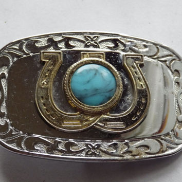 Double Horseshoe with turquoise Silver tone metal Belt Buckle