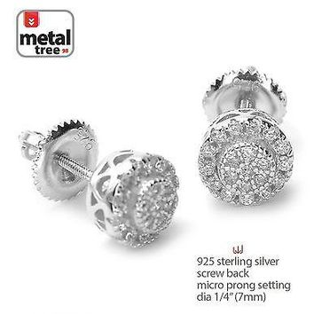 Jewelry Kay style Hip Hop 925 Silver Micro Pave Double Round Screw Back Stud Men's Earrings 460 S