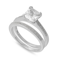 925 Sterling Silver CZ Set of 2 Square Ring 7MM