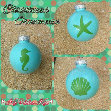 Beach Christmas Tree Ornaments, Seahorse, Starfish, Shell, Handpainted