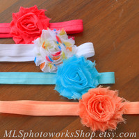 Summer Rainbow Headband Set - Baby Girl Shabby Headbands in Hot Pink, Rainbow Dot, Aqua, Coral Orange - Bright Baby Headbands for Summer