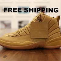 [FREE SHIPPING] AIR JORDAN 12 (PSNY WHEAT) BASKETBALL SNEAKER