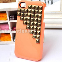 studded iphone 4 case, handmade iphone 4s case iphone cover skin iphone 4s case - rivet pyramid iphone 4 case