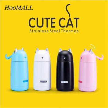 Hoomall Cartoon Thermos Cat Mug Vacuum Flask - Stainless Steel Thermos Water Bottle Thermal Tumbler