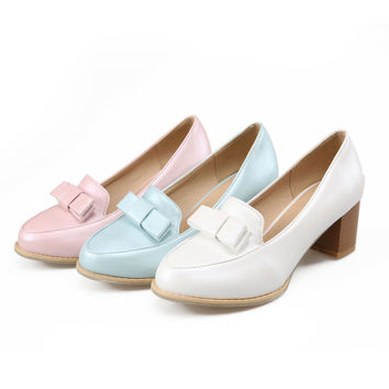 Candy Colors Womens High Heel Thick Heels Ladies Pumps Bow Shoes