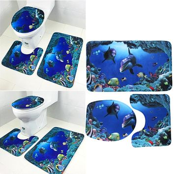 High Quality 3pcs/set Bathroom Non-Slip Ocean Style Pedestal Rug + Lid Toilet Cover + Bath Mat Blue Bathroom Decoration Gifts