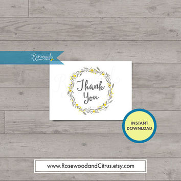 Yellow and Grey Thank You, Matching Baby Shower Printables, Floral Thank You Printables, Instant Download, Floral Wreath Baby Shower Card