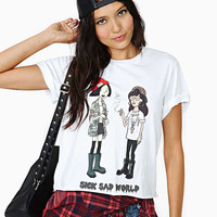 White  Sick Sad World Girls Cartoon  Graphic Tee