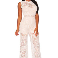 White Sheer Floral Lace Jumpsuit