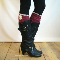 The Milly Lace - Berry cable-knit Boot Socks with ivory knit lace trim & buttons - lace socks (item no. 5-1)