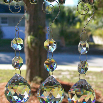 3 pc Window Crystal  Ball Prism, Hanging Window Crystal, Crystal Suncatcher, Light Catcher, Rearview Mirror Car Charm