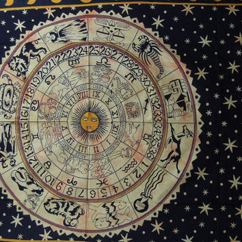 Twin Tie Dye Horoscope Tapestry, Celestial Zodiac Tapestry, Astrology Tapestry, Indian tapestry, Bohemian Wall Hanging, Dorm Tapestries