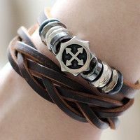172 Brown leather bracelet Leather cord ring and the cross Classic men bracelet The unique jewelry gifts