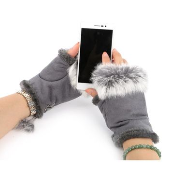 2017 Women Winter Glove Faux Rabbit Fur Hand Wrist Warmer Fingerless Gloves New