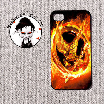 Iphone 4 / 4s Case Cell Phone Cover - Hunger Games Inspired Girl on Fire 60056