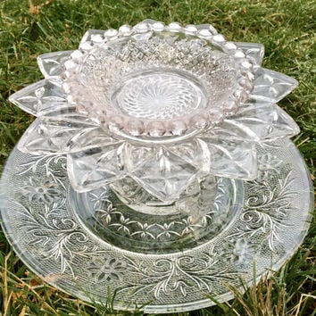 Vintage Glass Trinket Dish, Recycled Dish Art , Garden Whimsy Totem, Jewelry Dish, Tiered Candy Dish, Potpourri Holder, Gift Idea for Women