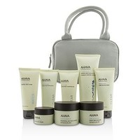 Ahava Essential Beauty Case: Body Exfoliator+Body Lotion+Cleanser+Facial Exfoliator+Mask+Day Cream+Night Cream+Eye Cream+Gray Bag Skincare