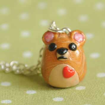 Kawaii Animal Honey Bear Polymer Clay Miniature Necklace Jewelry