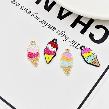 MRHUANG 10pcs/lot Dessert Ice-cream  Metal Enamel Charms Fit DIY Bracelet Hair Jewelry Accessory 10*22mm