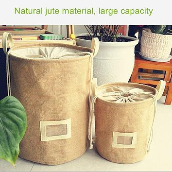Thickening have handle jute classification storage barrels beam mouth laundry basket Dirty clothes basket foldable storage home