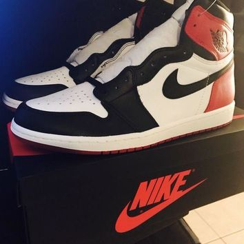 PEAPON Air Jordan 1 Retro High OG Black Toe Men's 555088-184 Red Black White MINT