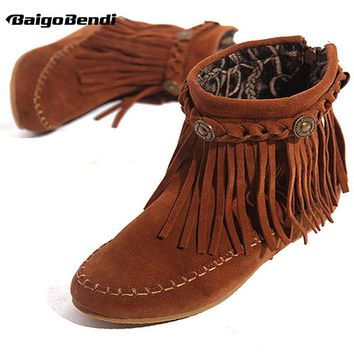 Suede Leather Like Moccasin Fringe Tassel Ankle Boots women wedge shoes