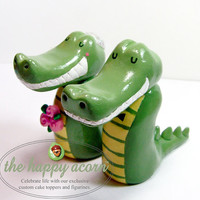 Alligators Wedding Cake Topper Gators Crocs READY TO SHIP Handmade by The Happy Acorn
