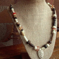 Tribal Queen Bone and Carnelian Necklace - Indigenous Necklace - Nomadic Necklace - Chunky Woodland Necklace - Layering Bohochic Necklace
