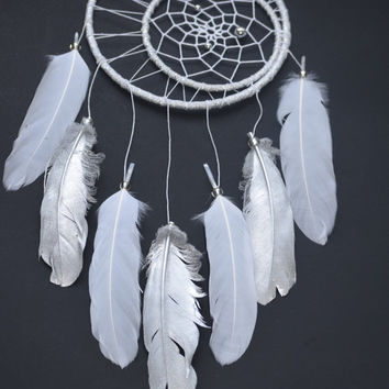 Dream catcher, Moon Dream catcher, Wall hanging, Baby Shower Gift, Silver Boho Dream catcher, Silver Wall Decor, Bohemian decor,