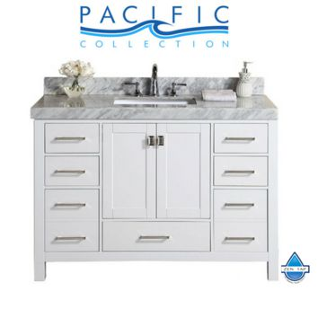 """60"""" Malibu White Single Modern Bathroom Vanity with White Marble Top and Undermount Sink"""