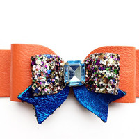 Florida Gators Orange and Blue Leather Glitter Hair Bow,  Girls Leather Hair Clip, Spring Bow, Leather bow with rhinestone, Orange hair